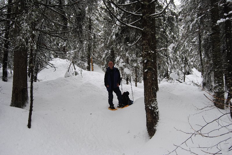 On way to lake on snowshoes